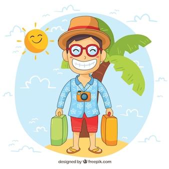 Hombre sonriente viajando