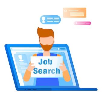 Hombre sostener la búsqueda de trabajo placa salir de la pantalla del portátil