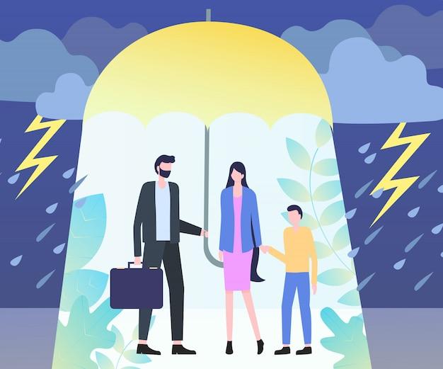 Hombre sostener paraguas mujer niño lluvia tormenta peligro peligro