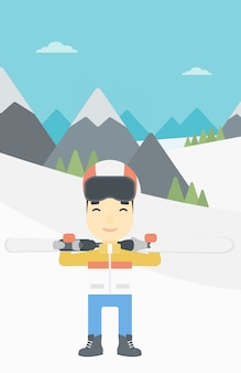 Hombre sosteniendo esquís ilustración vectorial