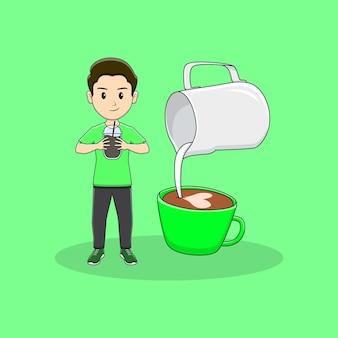 El hombre sostiene una botella de café con diseño de arte latte