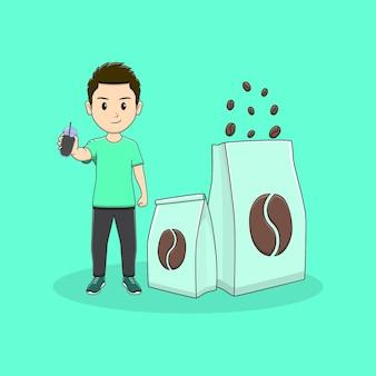 El hombre sostiene una botella de café con paquete de diseño de café