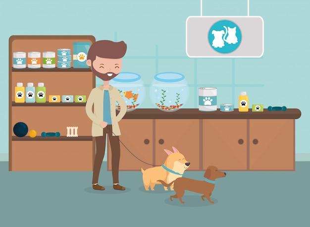 Hombre con su perro en la consulta veterinaria cuidado de mascotas