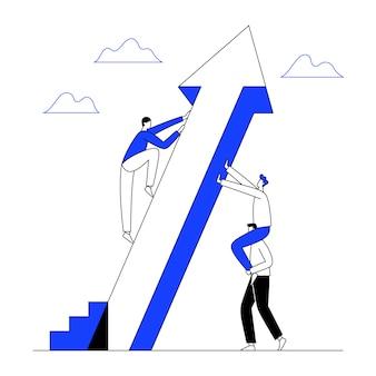 El hombre sube la flecha ascendente con ayuda del trabajo en equipo para el éxito. crecimiento empresarial, concepto de progreso. línea con trazo editable.