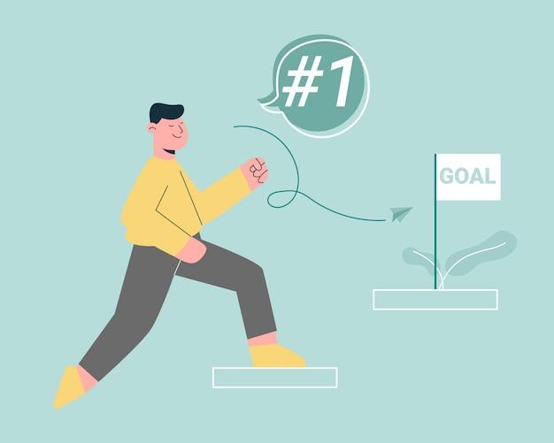 Hombre subiendo escaleras al concepto de objetivo