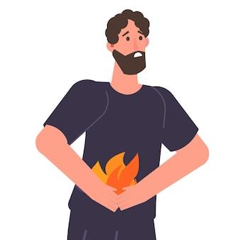 Hombre sujetando el abdomen. concepto de problemas de acidez y estómago. ilustración vectorial.