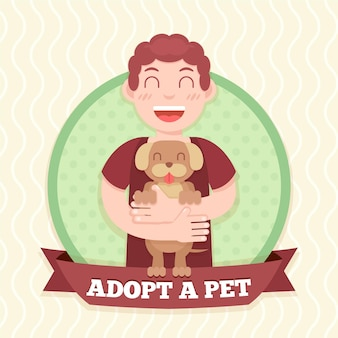 Hombre sujetando el concepto de perro adoptado