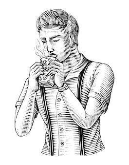 Hombre sujetando una taza de café y bebiendo café a mano dibujar estilo de grabado vintage
