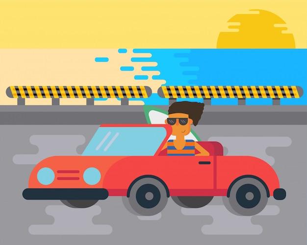 Hombre surfeando en el camino a la playa en un coche fresco.