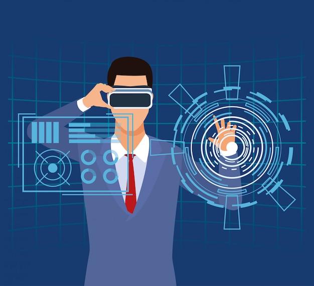 Hombre de tecnología de inteligencia artificial que usa el botón de comando de función de gafas vr