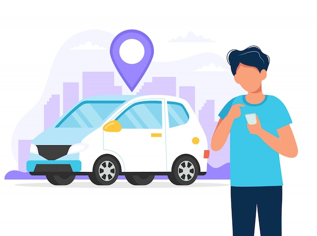 Hombre con teléfono inteligente con una aplicación para encontrar la ubicación de un automóvil. servicio de alquiler de autos a través de la aplicación móvil