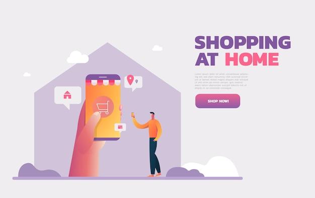 Hombre tienda online en smartphone. compre en casa, reciba paquete. ilustración plana.