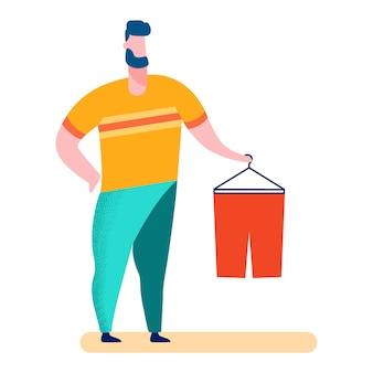Hombre en tienda de ropa, ilustración de centro comercial