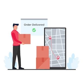 El hombre tiene cajas junto al teléfono con la metáfora del mapa de ruta de la entrega de seguimiento en línea.