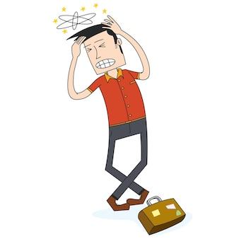El hombre tiene dolor de cabeza de camino a casa
