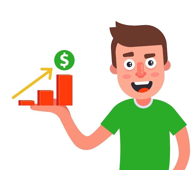 El hombre tiene un gráfico del crecimiento de los ingresos en la palma de su mano.