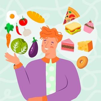 El hombre tiene que elegir entre alimentos saludables y no saludables.