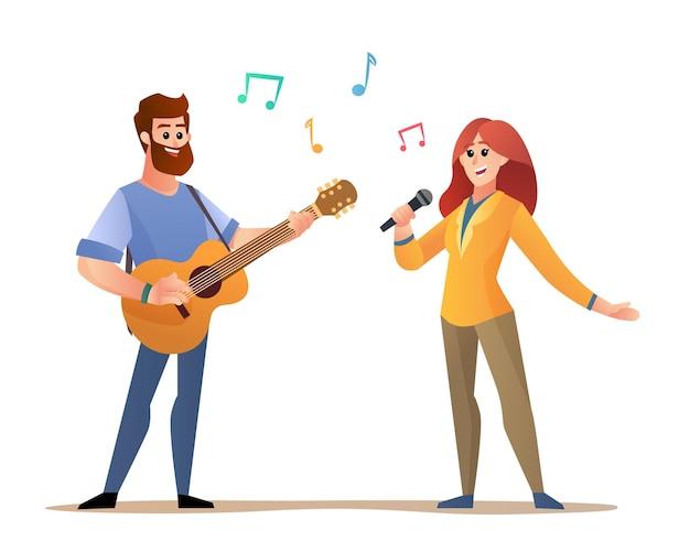 Hombre tocando guitarra acústica y mujer cantando ilustración