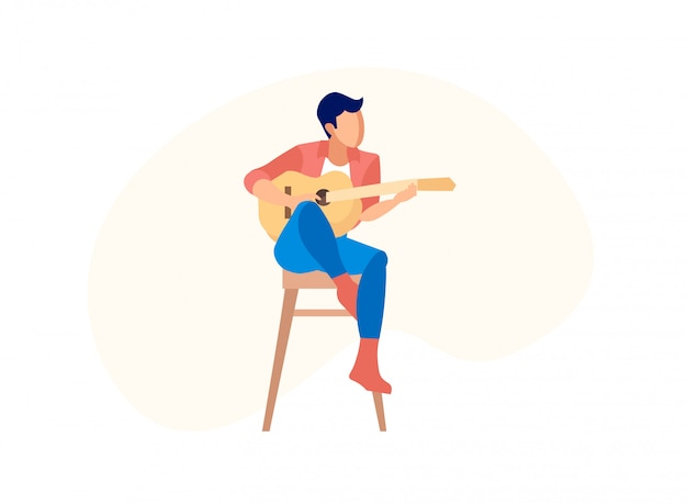 Hombre tocando la guitarra acústica sentado en una silla alta