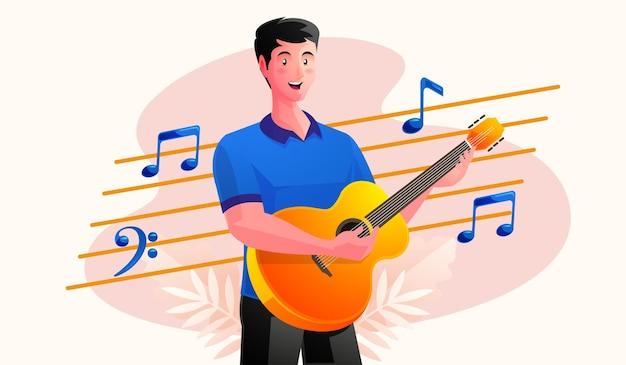 Hombre tocando la guitarra con notas musicales Vector Premium