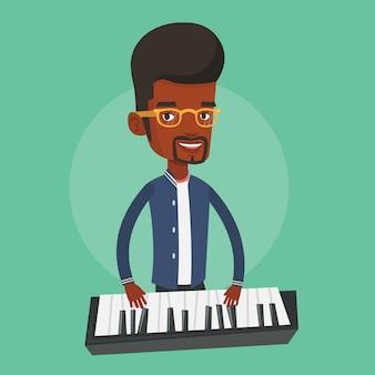 Hombre tocando la ilustración del piano.