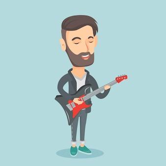Hombre tocando la ilustración de vector de guitarra eléctrica.