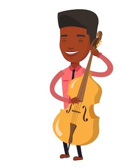 Hombre tocando la ilustración de vector de violonchelo.