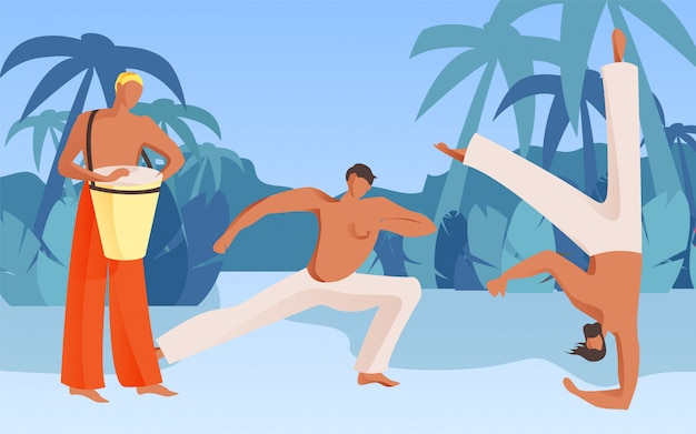 Hombre tocando tambor torso desnudo muestra acrobacias