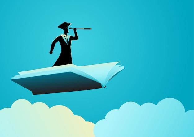 Hombre con toga con telescopio en libro volador