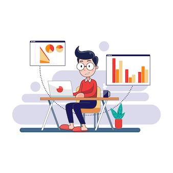 El hombre trabaja en casa con la computadora portátil para prevenir la infección por virus