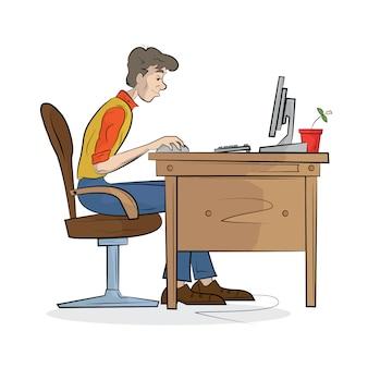 El hombre trabaja en la computadora. ilustración.
