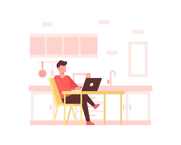 Un hombre trabaja en el concepto de ilustración de mesa de comedor