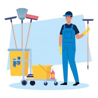 Hombre trabajador de limpieza con carro de limpieza, conserje de hombre con diseño de ilustración de vector de carro de limpieza