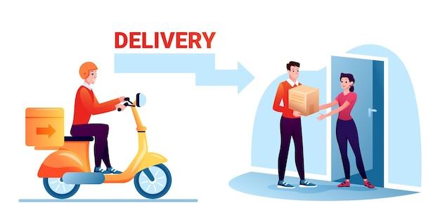 Hombre trabajador de mensajería que entrega la caja postal de cartón por la vía de la furgoneta o scooter, puerta de la casa del cartero.