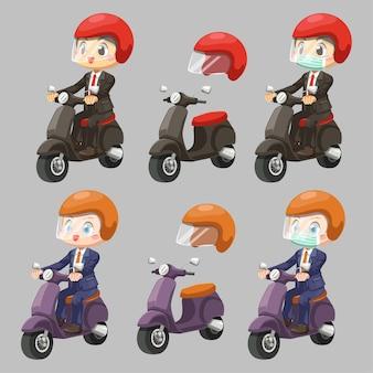 Hombre trabajador vestido con traje y protege la motocicleta antidetonante en personaje de dibujos animados, ilustración plana aislada
