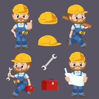 Hombre trabajador vestido con uniforme y casco con herramientas en personaje de dibujos animados, ilustración plana aislada