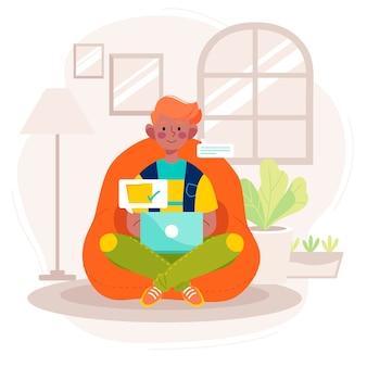 Hombre trabajando en casa en computadora