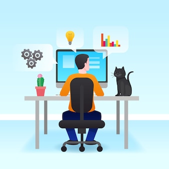 Hombre trabajando desde casa concepto
