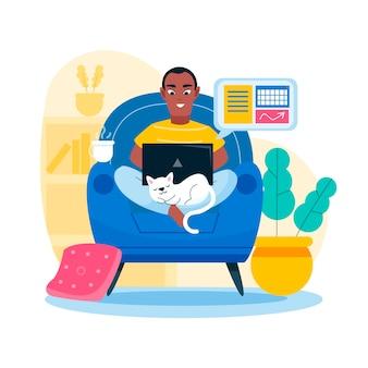 Hombre trabajando desde casa y gato