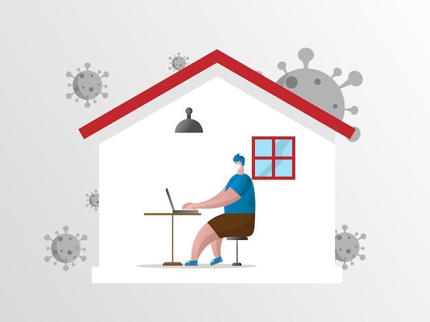Hombre trabajando en casa, protéjase del coronavirus covid-19