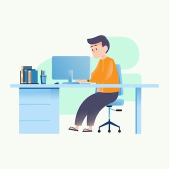 El hombre esta trabajando en la computadora