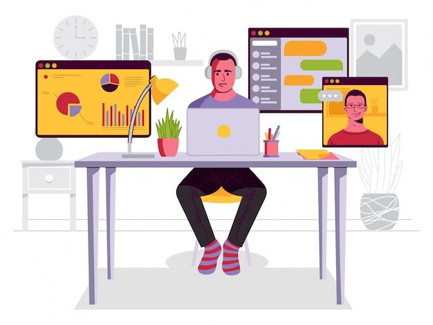 Hombre trabajando en escritorio en casa ilustración