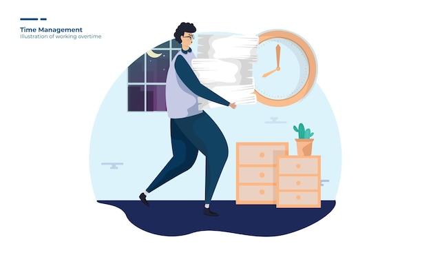 Hombre trabajando horas extras ilustración para la gestión del tiempo