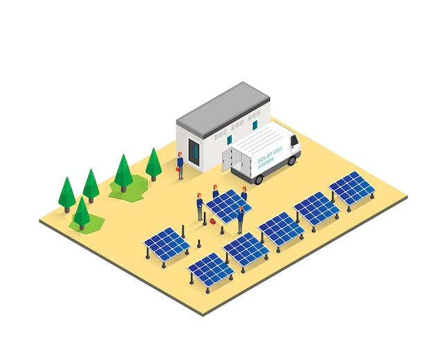 El hombre trabajando en la instalación del panel de células solares en la planta de células solares
