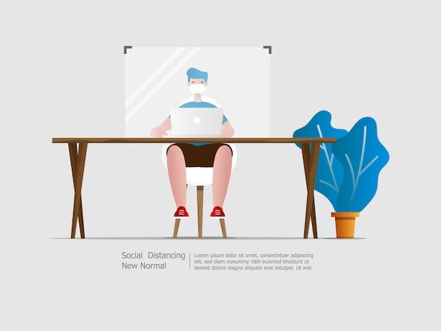 Hombre trabajando con partición distanciamiento social
