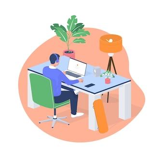Hombre trabajando portátil en casa ilustración isométrica. personaje masculino en auriculares sentado en una mesa blanca moderna y con entusiasmo lanza un nuevo juego en línea