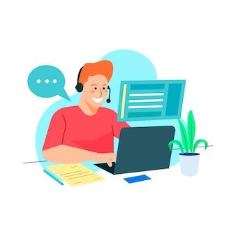 Hombre trabajando con su equipo en línea