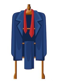 Hombre traje azul con corbata roja en percha de madera ilustración sobre fondo blanco.