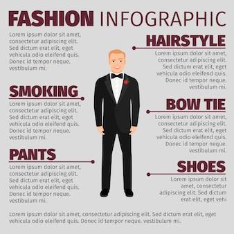 Hombre en traje de boda moda infografía