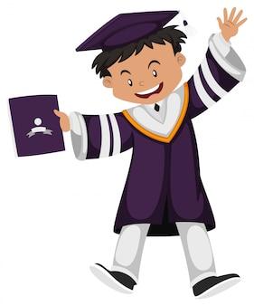 Hombre en traje de graduación púrpura